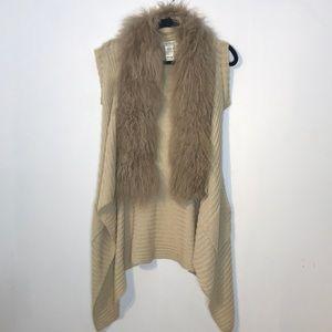 Costa Blanca mongolian lamb fur sleeveless cardigan